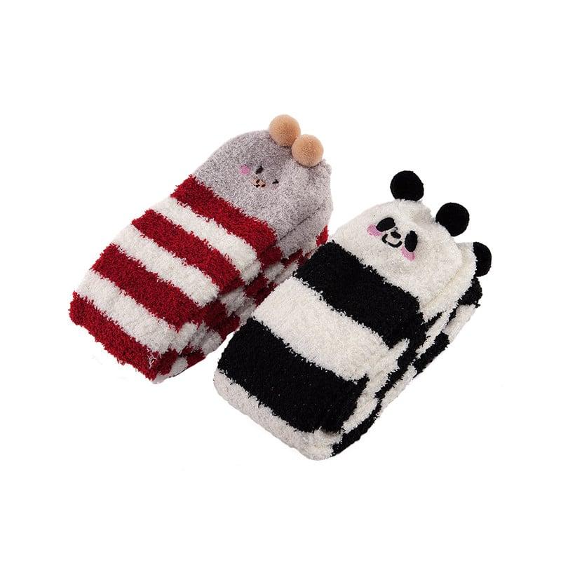 fbe8900ae Cute Animal Coral Fleece Thigh High Socks 2 Pack- Pig Red   Panda ...