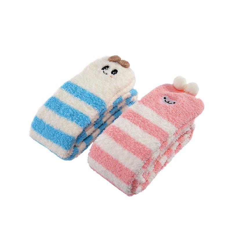 fc448da87 Cute Animal Coral Fleece Thigh High Socks 2 Pack- Sheep Pink   Panda ...