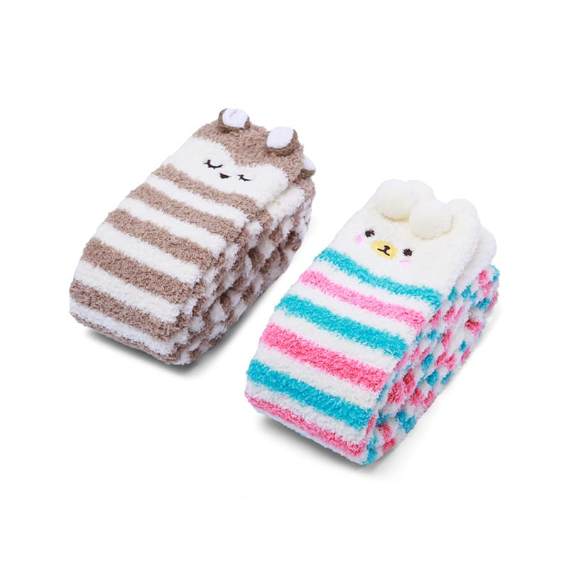 1cb99274e9b Cute Animal Coral Fleece Thigh High Socks 2 Pack- Owl   Colorful ...