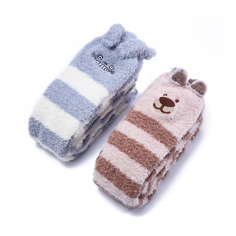 df19af3b31e Cute Animal Coral Fleece Thigh High Socks 2 Pack- Chinchillas ...