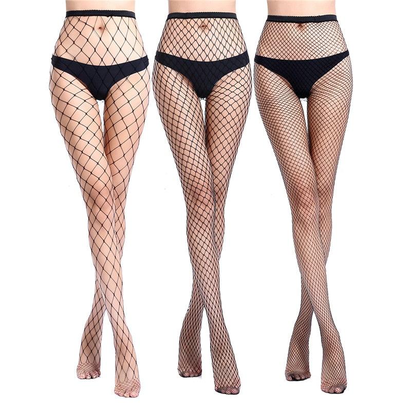 534ea9c73 High Waist Tights Fishnet Mesh Net Stockings 3 Pairs-Black ...